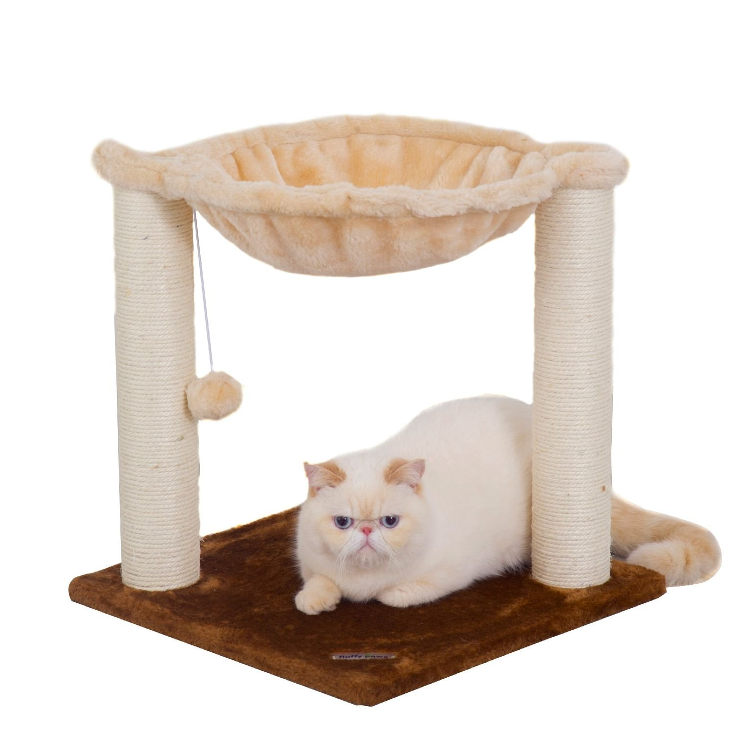 Fluffy Paws Cat Tree House, Multi 2 Level, with Scratching Post Durable Sisal Wrapped, Sleeping Hammock Pet Bed and Kitten Toy Ball Furniture [18'' Height] w/Carpeted Based Play Area, Beige