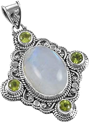Silver Palace Natural Rainbow Moonstone 925 Sterling Silver Handmade Cabochon Pendant For Wedding Anniversary Gift