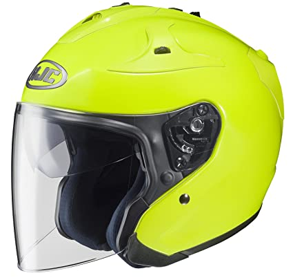 Open Face Jet Helmet Motorbike Scooter Long Visor Fluo Yellow M