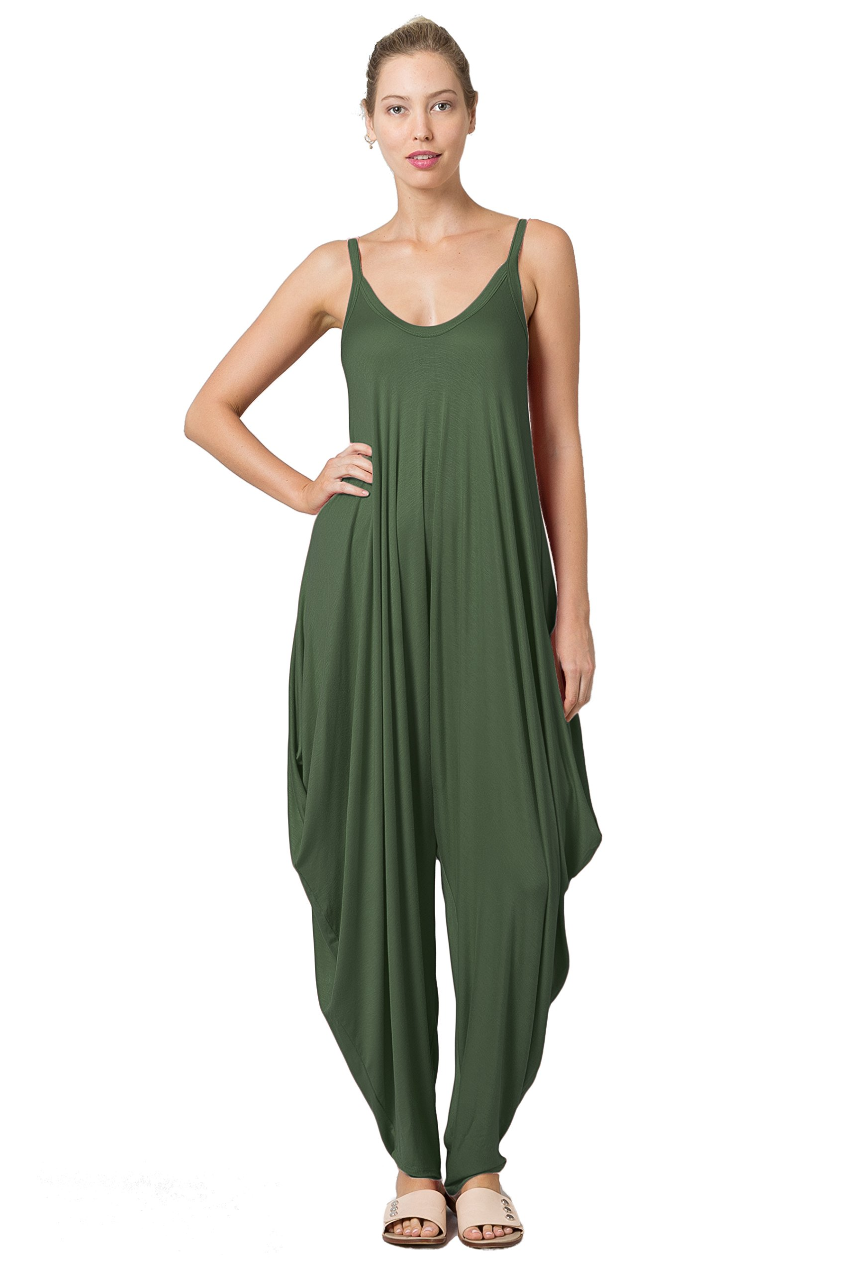 Love In JP6883 Sleeveless Wide Strap Harem Jumpsuit Ver 2.0 Updated Olive M