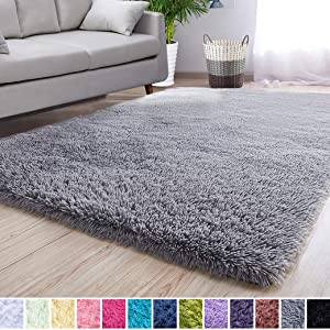 Noahas Super Soft Modern Shag Area Rugs Fluffy Living Room Carpet Comfy Bedroom Home Decorate Floor Kids Playing Mat 3 Feet by 5 Feet, Grey