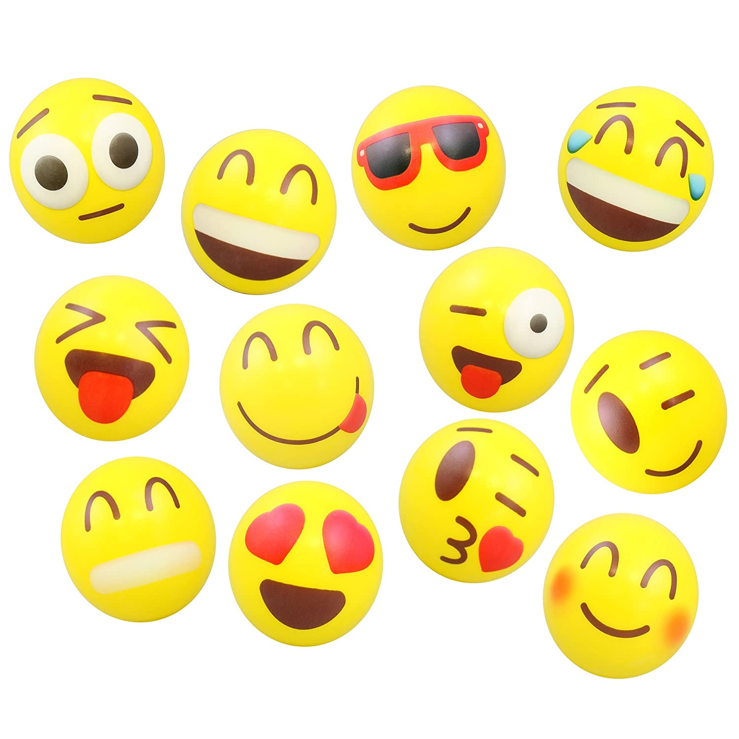 24 Colorful Emoji Stress Balls - Squishy, Squeezable Fidget Toy for Kids - High-Quality Materials for Lasting Use - Cool Squeeze Balls Improve Anxiety and ADHD - Great Party Favors or Classroom Toys Totem World