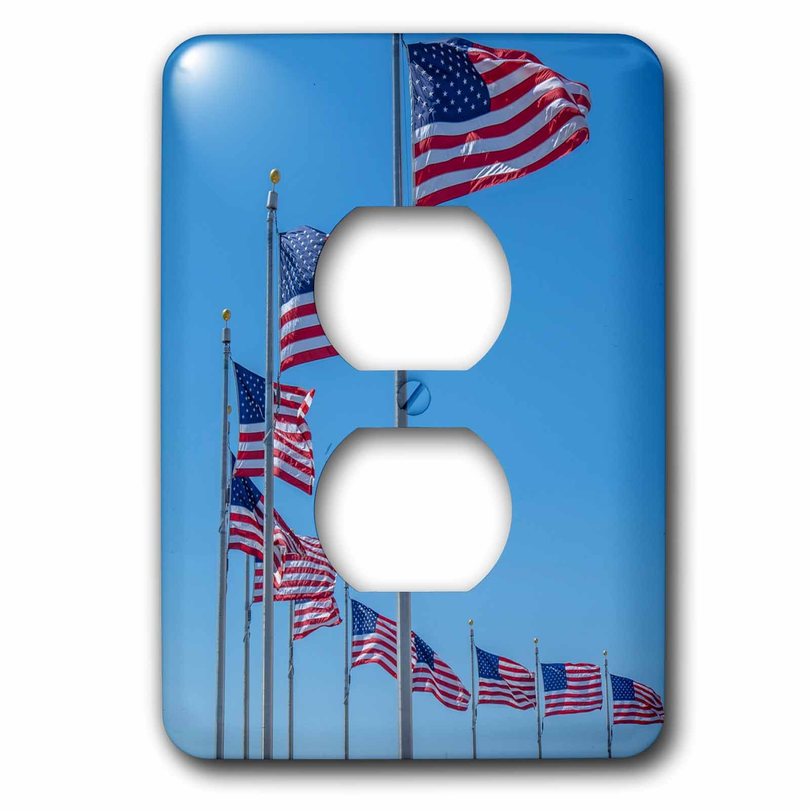 3dRose LSP_259157_6 Flags Monument, Washington DC, USA Plug Outlet Cover