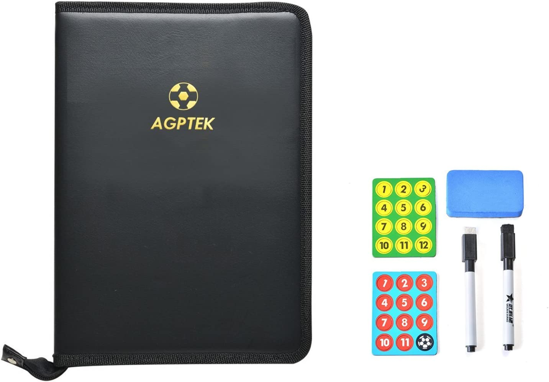 AGPTek Carpeta t/áctica para entrenador de f/útbol con accesorios