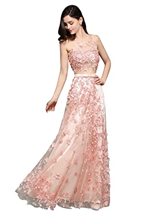 f203ff5f57 Women s Sexy See Through Tulle Appliques Pageant Evening Prom Gown(Dusty  Pink ...