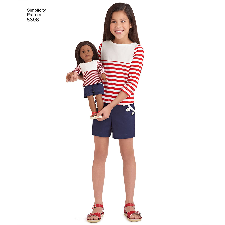 Simplicity 8398 American Girl Pantalones, pantalones cortos, falda ...