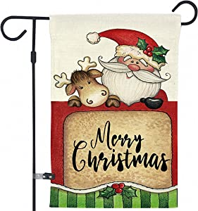 Garden Flags, Christmas Outdoor Decorations, Double Sided Snowman Santa House Home Yard Patio Decor Flags, Merry Christmas Welcome Flags 18 x 12 Inch (401)