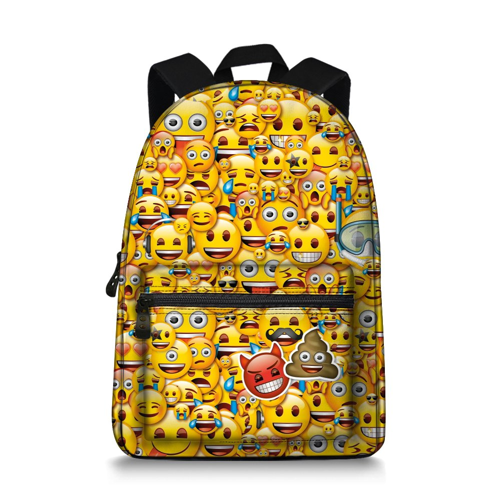 Emoji Children backpack Canvas School Book Bag for Teens by WhosePet