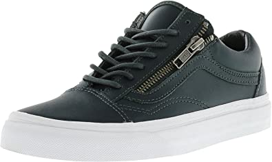 black leather old skool zip vans