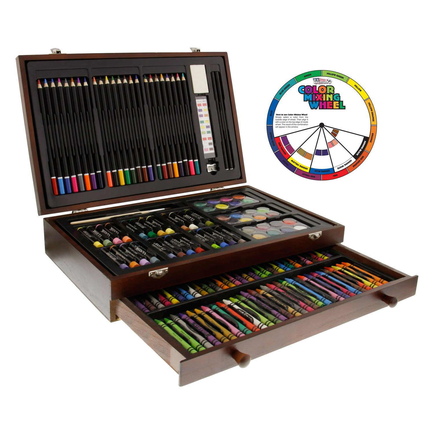 U.S. Art Supply 143 Piece-Mega Wood Box Art, Painting & Drawing Set, Now Contains a Bonus Color Mixing Wheel by US Art Supply