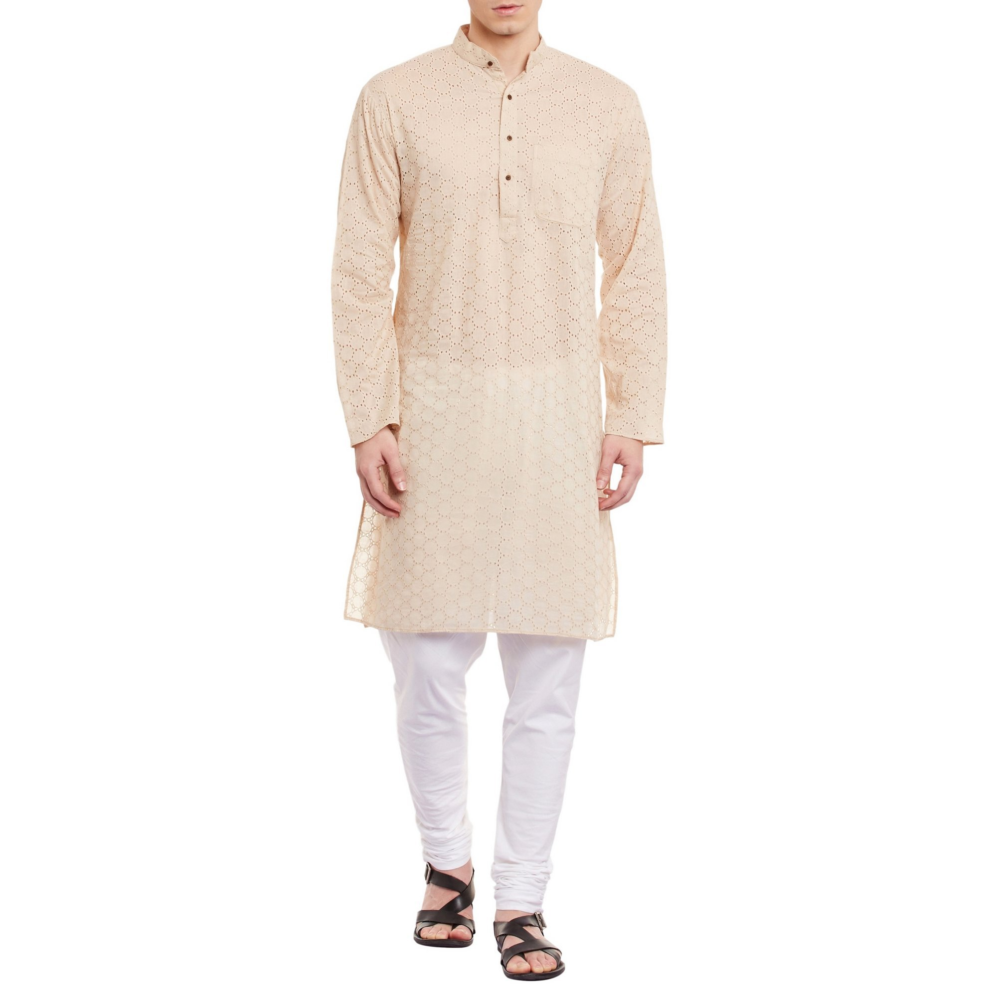 Mens Embroidered Cutwork Cotton Kurta With Churidar Pajama Trousers Machine Embroidery,Beige Chest Size: 46 Inch