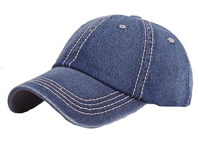 Men Women Washed Denim Baseball Cap Adjustable Sports Caps Outdoor Sun Hat  Blue 1 2f9a613ad6c5