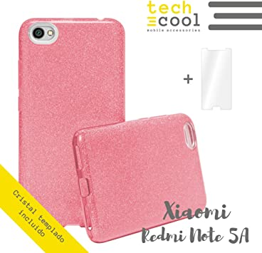 Funda Brillante para Xiaomi Redmi Note 5A / Note 5A Prime Color Rosa + Cristal Templado Techcool®I Funda Brillo, Efecto Brillante, Purpurina, Carcasa, Case: Amazon.es: Electrónica