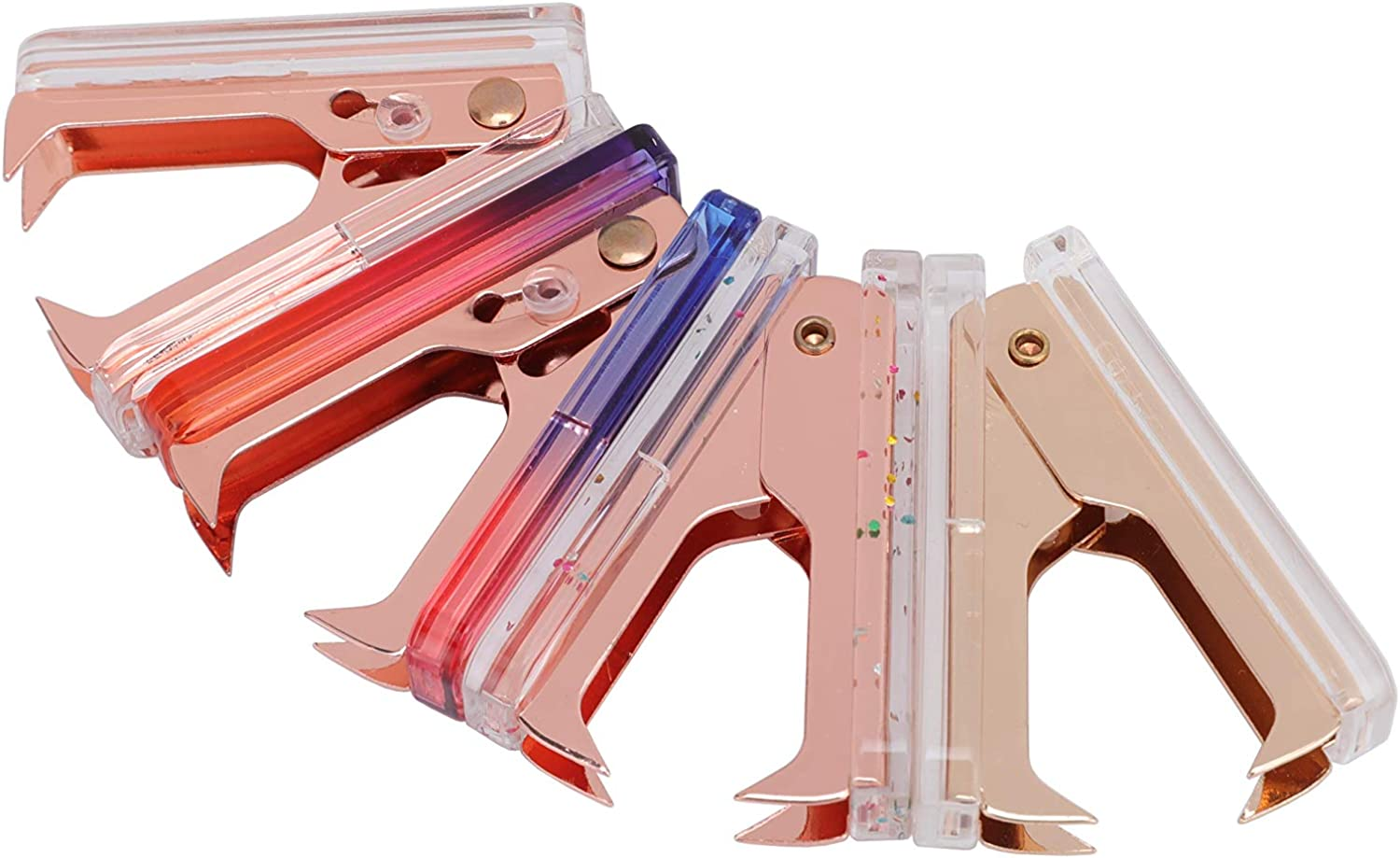 LUYING Clear Staple Remover Extra Wide Stainless Steel Jaws Staple Puller Tool for Office School Home Supplies (Rainbow) : Office Products