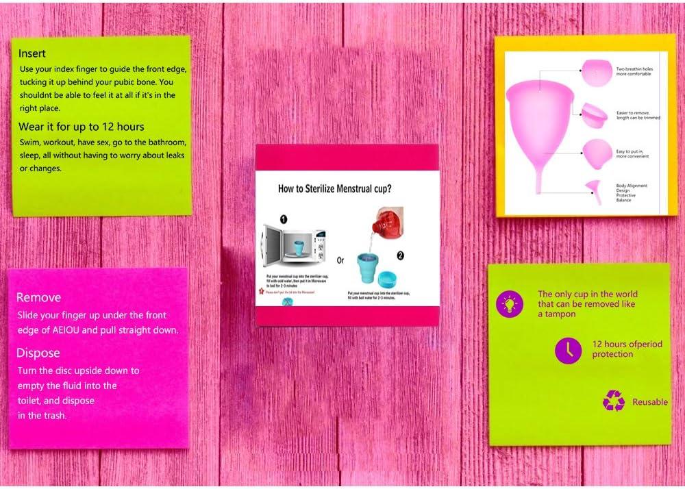 AEIOU Copa menstrual – más cómoda para el período de 12 horas – silicona suave, flexible, reutilizable de grado médico, pequeño y grande, Large, ...