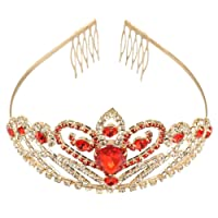 Crystal Rhinestone Gold Red Hair Tiara Crown with Comb Wedding Party Women Bridal Headband