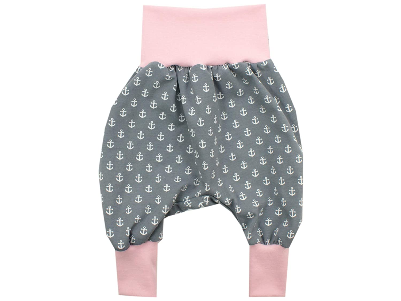 rosa /· /Ökotex 100 Zertifiziert /· Gr/ö/ßen 50-128 Kleine K/önige Pumphose Baby M/ädchen Hose /· Modell Anker grau