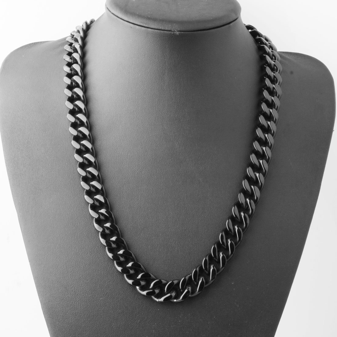 Stainless Steel 15mm Cuban Curb Chain Men Necklace 16-40 Inch,Black