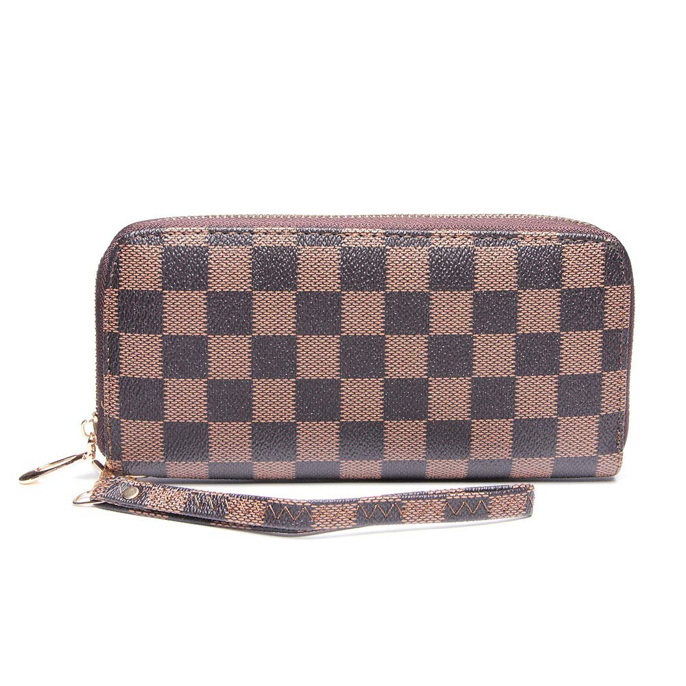 Wristlet Wallets for Women Long Womens Wallet Leather Clutch RFID Blocking with Zip Around Card Holder Organizer (Brown(1 Zipper)) by ANT EXPEDITION (Image #2)