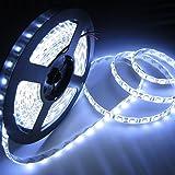 amiciKart® WaterProof SMD 3528 LED STRIP Lights (5 Meter) + DC 12V Adapter + LED Dimmer / Controller (Cool White)