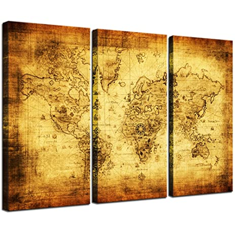 Amazon.com: Large World Map Canvas, 3 Pieces Vintage Map Wall ...