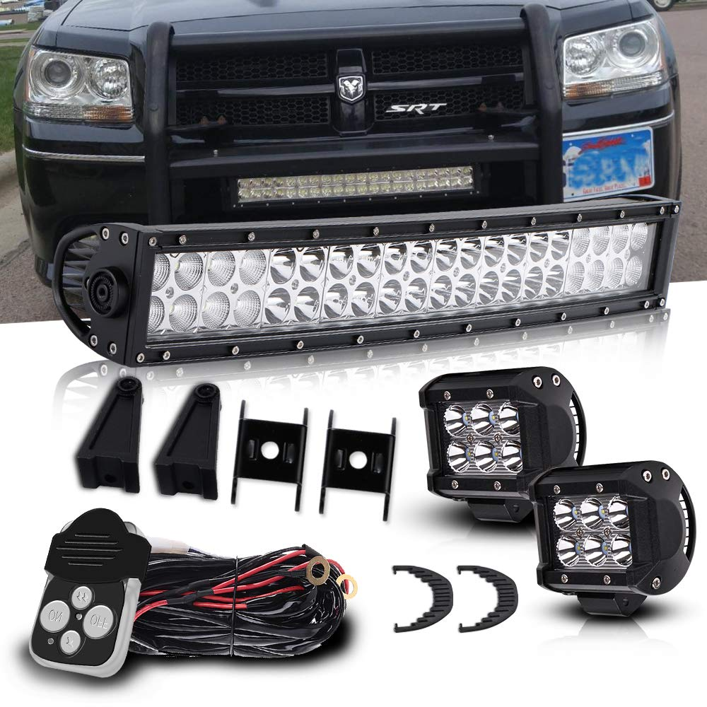 4XBEAM 20 Inch Led Light Bar 120W 12000LM Spot Flood Combo Work Light Off Road Lights Driving Lights + 4' Led Cube Light For Jeep Ford Dodge Ram Yukon Kubota Tractor Truck Polaris Ranger
