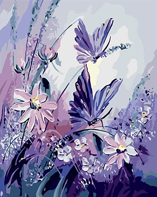 Amazon Com Rihe Diy Oil Painting Paint By Numbers Kits For Adults Kids Beginner Butterfly With Purple Flower 16 X 20inch Brushes And Acrylic Pigment Without Frame