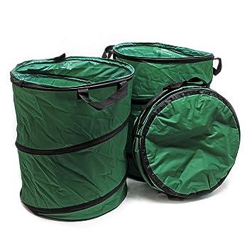 WilTec Saco jardín Redondo 100L Pop Up Plegable Set 3X Bolsa Basura jardín Residuos jardín Hojas Hierba