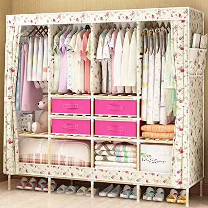 Amazon.com: HHAiNi Huge Wooden Portable Closet 4 Rods ...