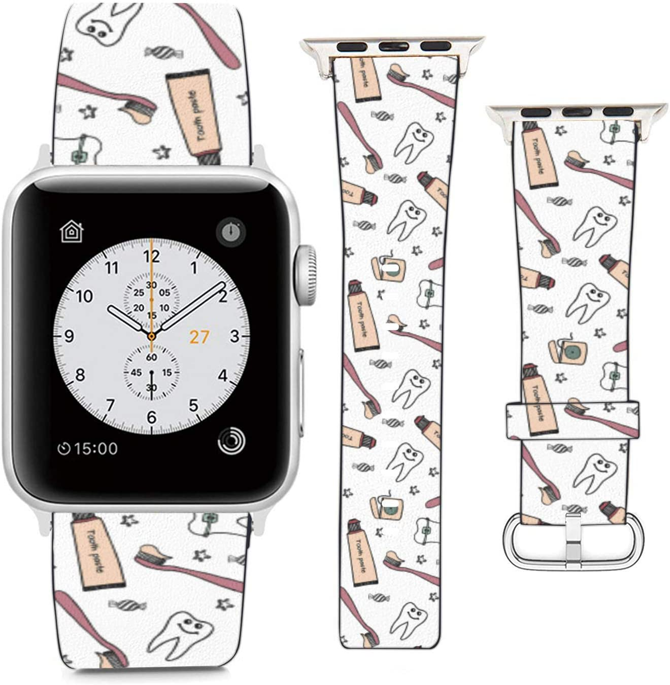 Replacement Leather Strap Printing Wristbands Compatible with Apple Watch Series 5/4 / 3/2 / 1 (42mm / 44mm) - Dental Care Instruments Doodle