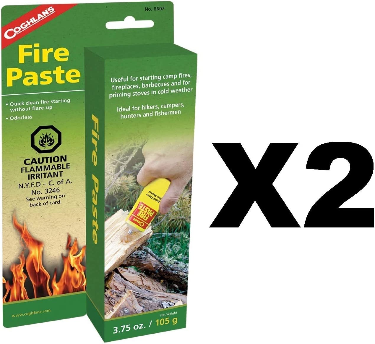 2PK Coghlans Fire Paste Emergency Survival Camping Fire Starters Odorless 3.75oz