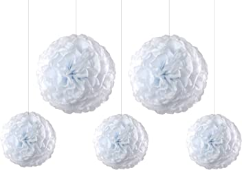 EinsSein 5er Mix Pom Poms 3X Medium (25cm) 2X Large (35cm) Weiss Hochzeit Wedding Pompons Dekokugel
