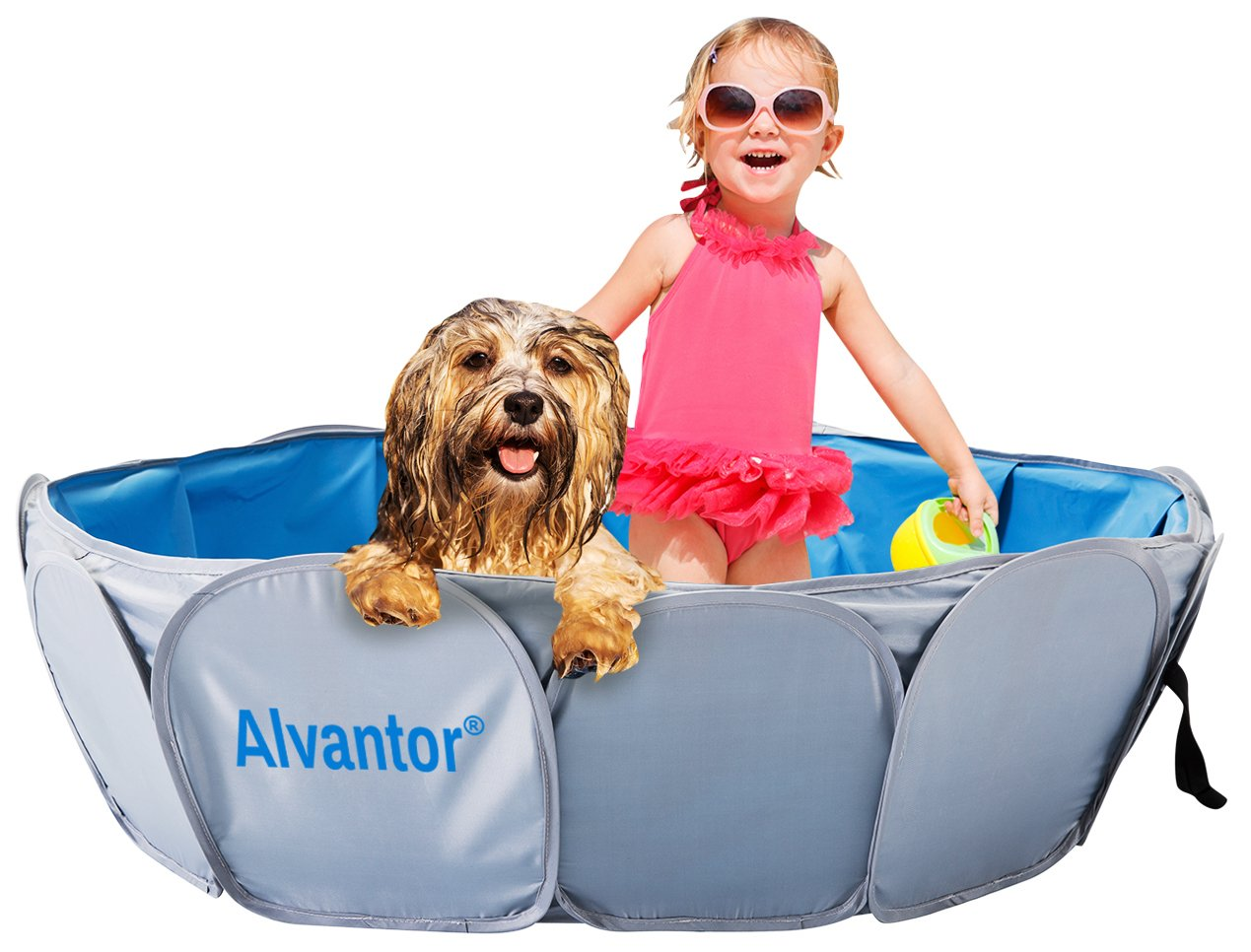 """Alvantor Pet Swimming Pool Dog Bathing Tub Kiddie Pools Cat Puppy Shower Spa Foldable Portable Indoor Outdoor Pond Ball Pit 42""""x12 Patent Pending"""