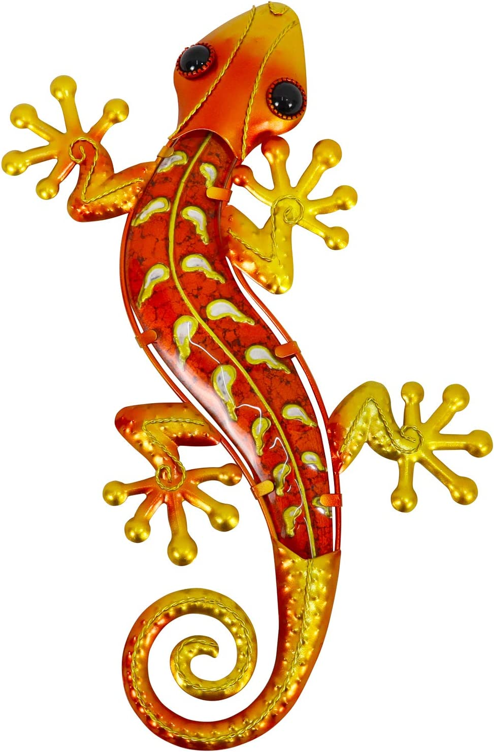 Yellow speckled Gecko Lizard freestanding ornament home display Wall mounted