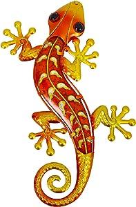 HONGLAND Metal Gecko Wall Decor Outdoor Indoor Lizard Art Sculpture Glass Decorations for Home (Orange)