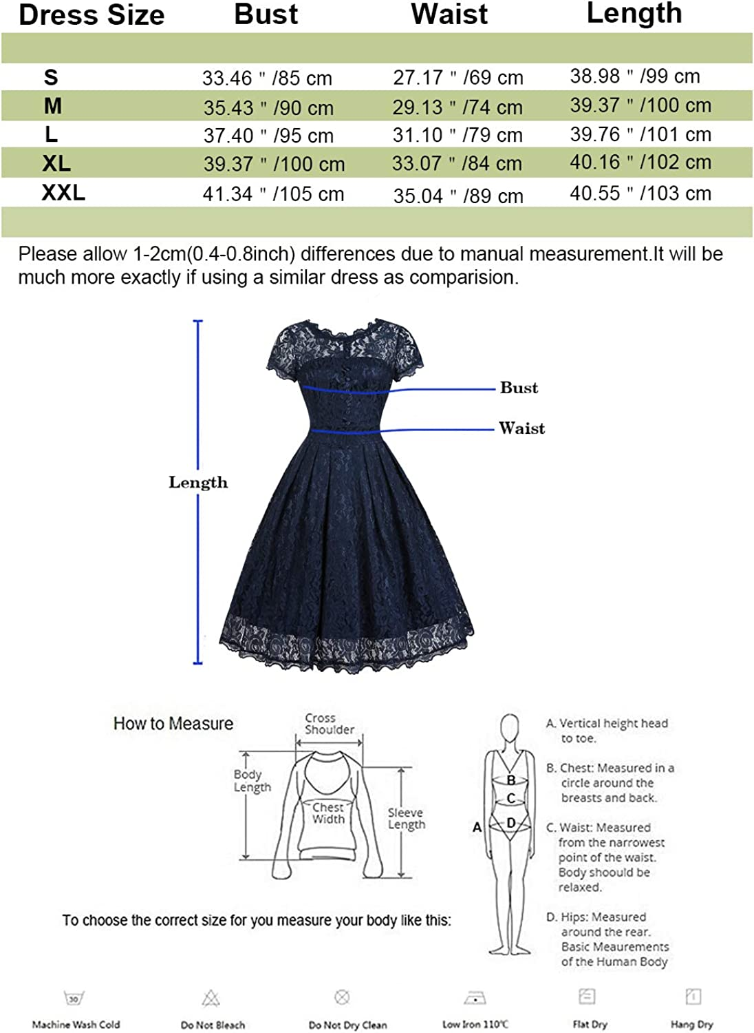 ihot Womens Vintage 1950s Cap Sleeve Floral Lace A Line Shirt Swing Party Dress