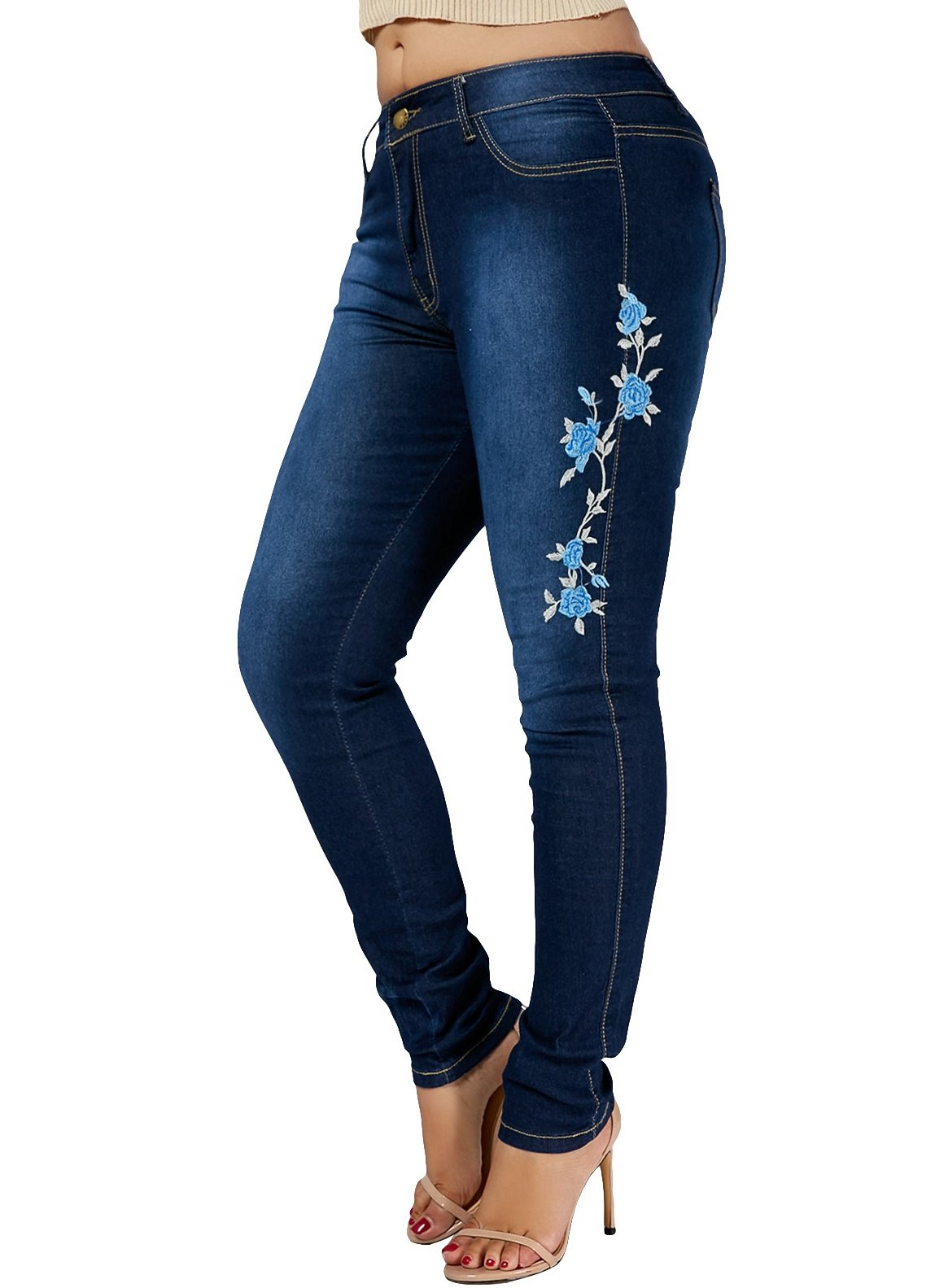 Nicetage Women's Hight Waisted Butt Lift Stretch Skinny Jeans Denim Pants with Embroidered Rose(HuaNiuzai Blue, S)