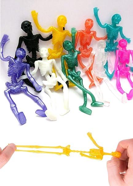 UpBrands Stretchy Skeleton 48 Pack 4 Inches Bulk Set 9 Glitter Colors Kit For Birthdays