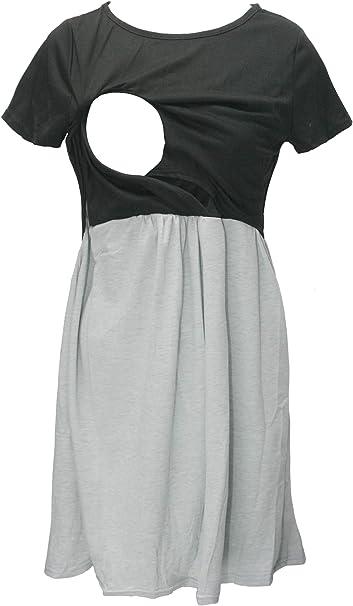 YUNAR Ladies Tie Front Short Sleeve Postpartum Nursing Maternity Dress