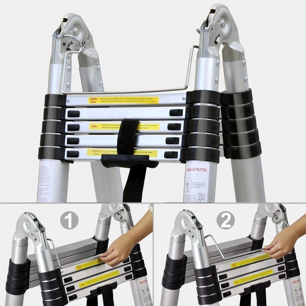 16.4 FT Telescopic Ladder Aluminum Telescoping Ladder Extension A-Fram Multi-Purpose Step-Ladder Folding Ladder 8.2 ft 5M=2.5M+2.5M 8.2 ft with Spring Load Locking Mechanism