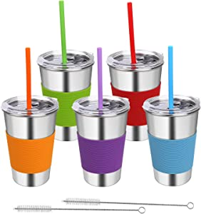 Rommeka Stainless Steel Cups with Lids, 5 Pack Drinking Glasses 16oz Spill Proof Metal Tumbler Kids Sippy Cups for Toddlers and Adults (With Silicone Straws)