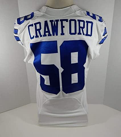 premium selection 5f8b7 4df8b 2014 Dallas Cowboys Jack Crawford #58 Game Issued White ...