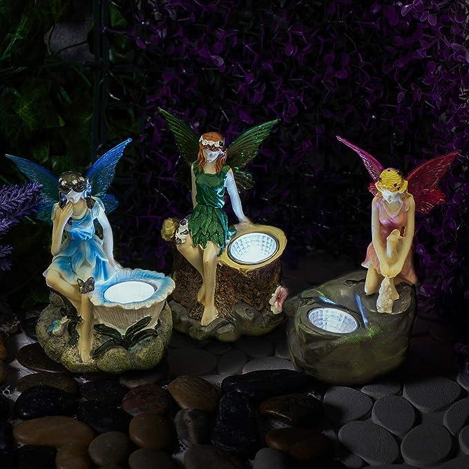 GloBrite - Juego de 3 estatuas de jardín de hadas con focos solares para exteriores: Amazon.es: Iluminación