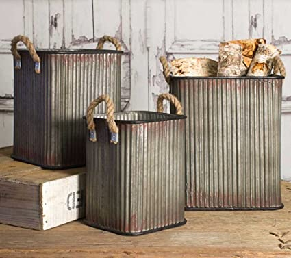 Exceptionnel Image Unavailable. Image Not Available For. Color: Industrial Inspired  Corrugated Metal Storage Bins ...