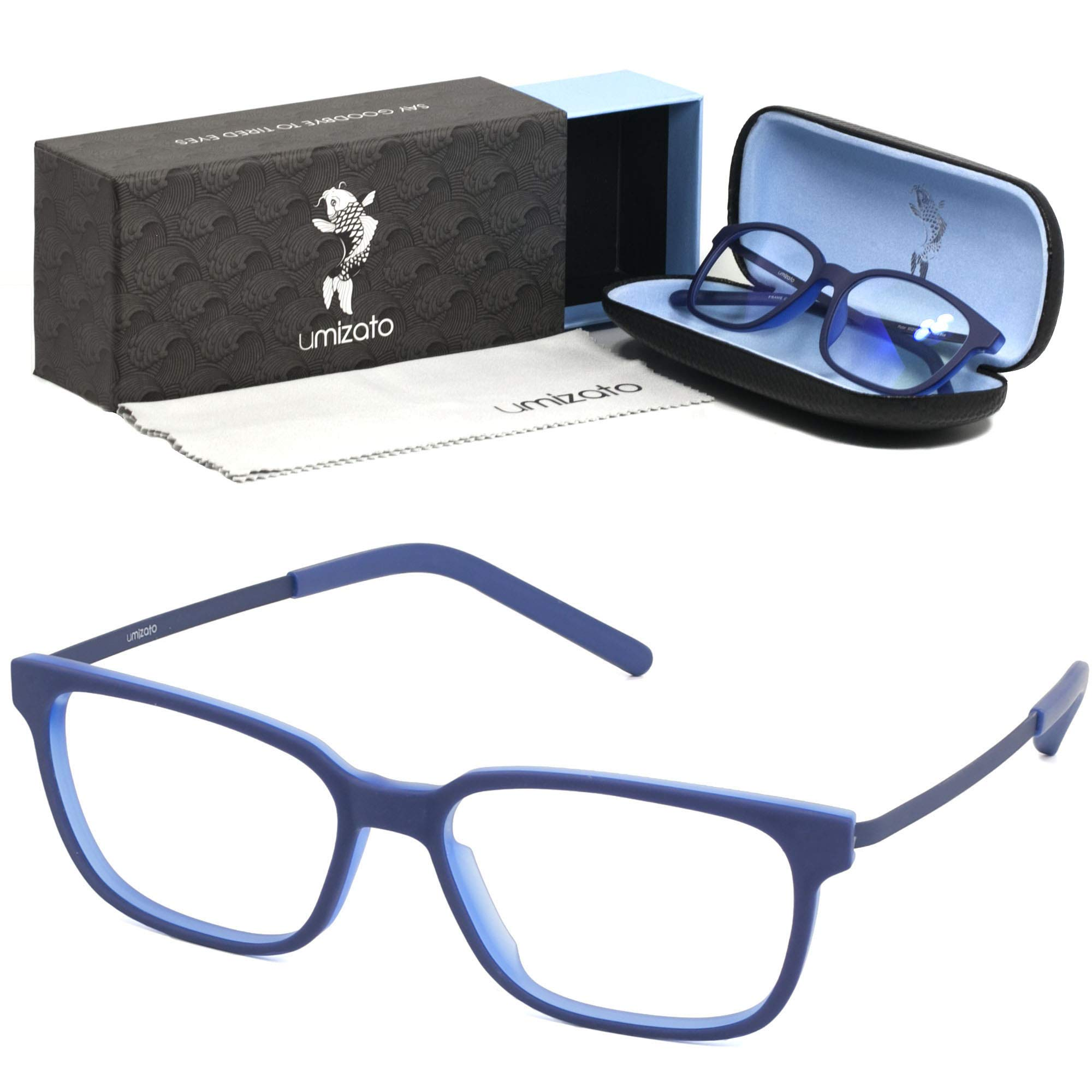UMIZATO Computer Gaming Glasses Blue Light Blocking for Men Women Clear Lens, PC Accessories - FDA Approved - Relieves Digital Eye Strain, UV Blocker, Anti-Glare, Anti-Fatigue (PICTOR in Blue)