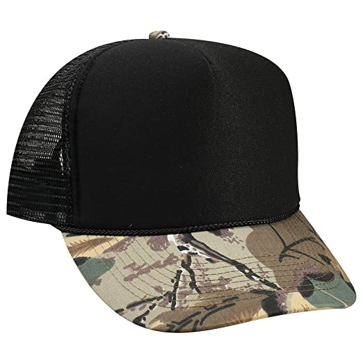 OTTO Camouflage Foam Front 5 Panel High Crown Mesh Back Trucker Hat - KHA  BRN Lt.Ol.Grn Blk at Amazon Men s Clothing store  424f8ce2c1ad