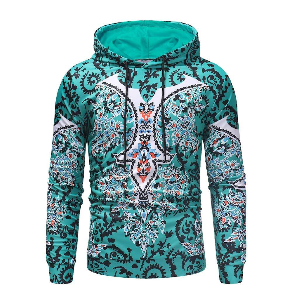 DEATU Men Hoodies Pullover Sale, Clearance Mens Autumn Long Sleeve National Style PrintSweatshirt Top Tee Outwear(Green,XXXL)