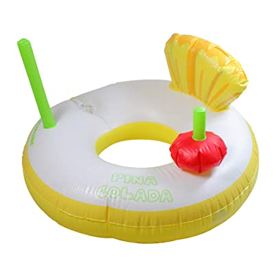 """41"""" Inflatable Yellow and White Pina Colada Swimming Pool Ring Float: Garden & Outdoor"""