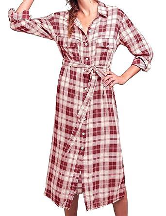 c790c4b6223 FANCYINN Shirt Dresses for Women Button Down Long Sleeve Plaid Checkered  Dress with Belt Red S