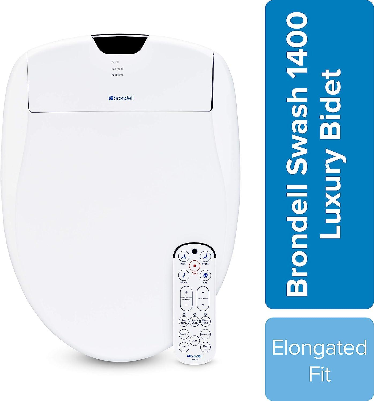 Brondell Swash 1400 Luxury Bidet Toilet Seat, Fits Elongated Toilets, White – Bidet – Dual Stainless-Steel Nozzles with Sterilization, Warm Air Dryer, Ambient Nightlight